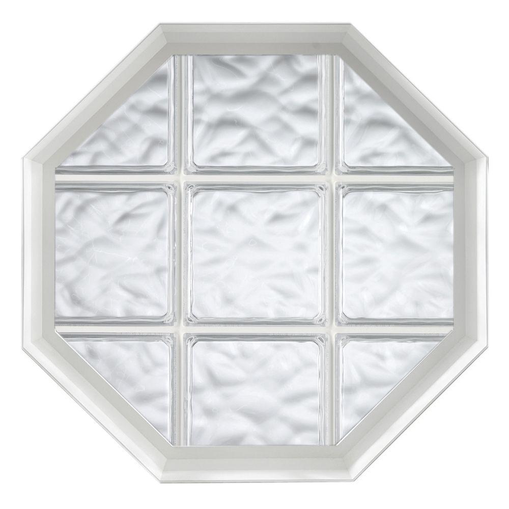 26 in. x 34 in. Acryilc Block Fixed Octagon Vinyl Window - White