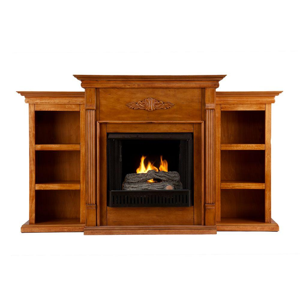 Southern Enterprises Tennyson 70 in. Gel Fuel Fireplace in Glazed Pine with Bookcases