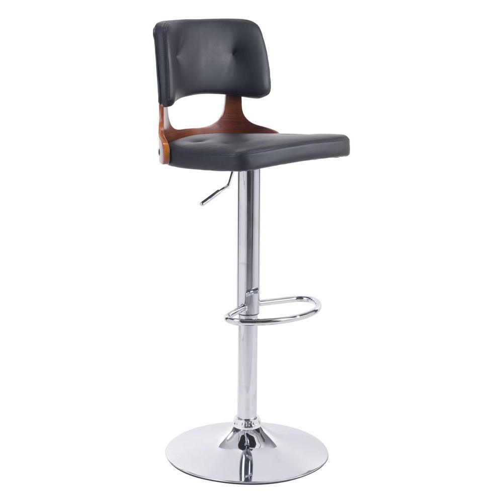 Lynx Adjustable Height Black Cushioned Bar Stool