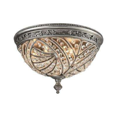 Renaissance 4-Light Weathered Zinc LED Flush Mount