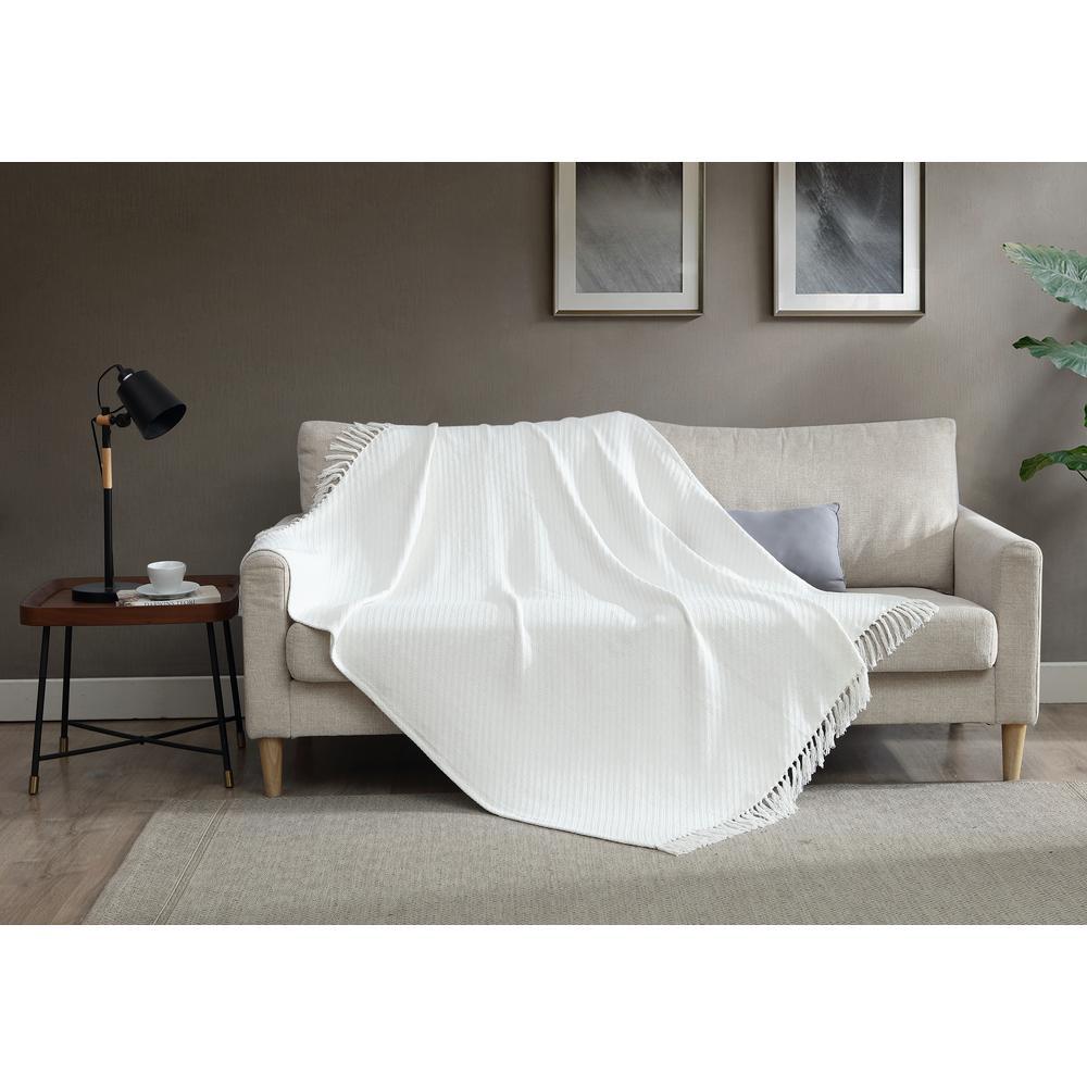50 in. x 60 in. 100% Cotton White Knit Throw Blanket