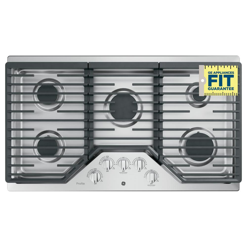 Profile 36 in. Gas Cooktop in Stainless Steel with 5 Burners