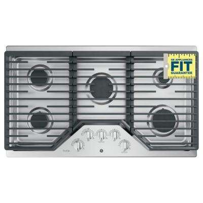 Profile 36 in. Gas Cooktop in Stainless Steel with 5 Burners with Rapid Boil Burner Technology
