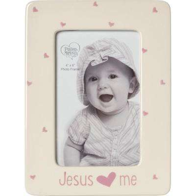 Jesus Love Me 4 in. x 6 in. Cream and Pink Gloss Ceramic Girl with Hearts Picture Frame