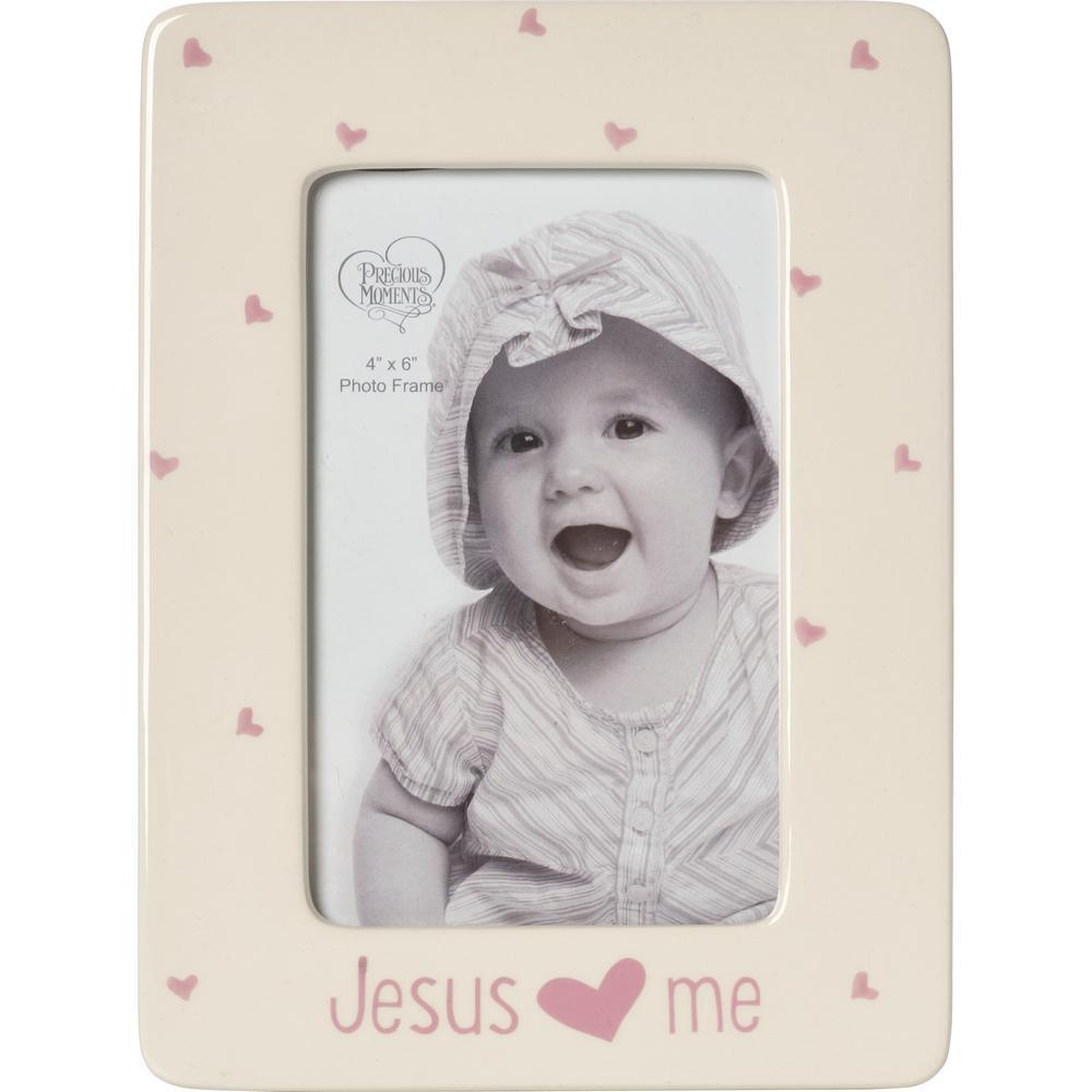 Precious Moments Jesus Love Me 4 in. x 6 in. Cream & Pink Gloss ...
