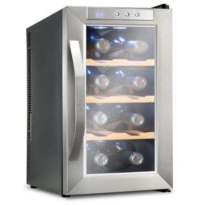 8 Bottle Premium Thermoelectric Freestanding Wine Cooler/Fridge - Stainless Steel with Wood Shelves