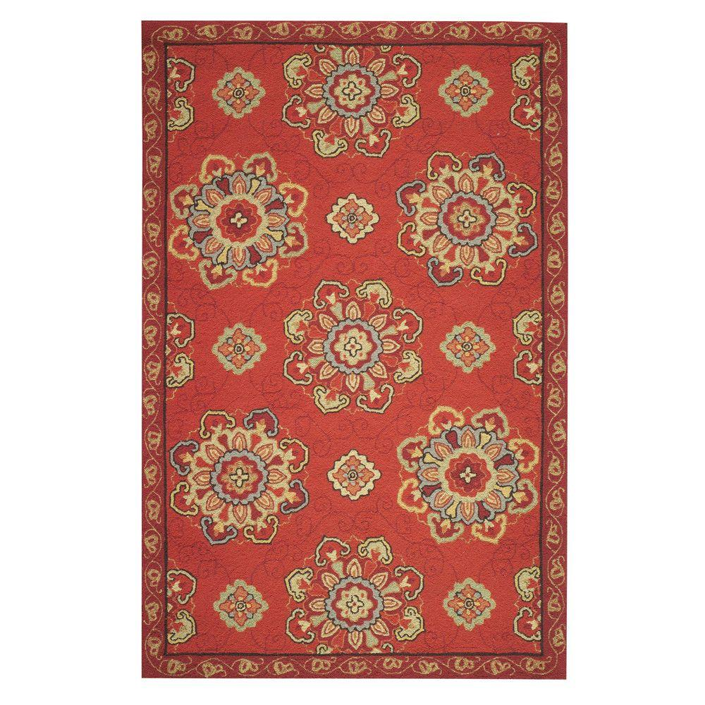Home Decorators Collection Bianca Red 2 ft. 6 in. x 12 ft. Area Rug