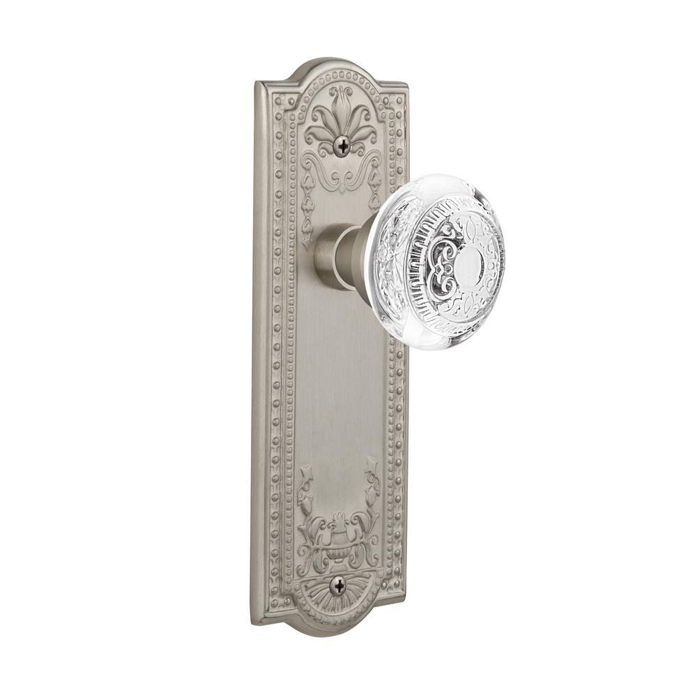 Satin Nickel Nostalgic Warehouse Meadows Plate with Keyhole Victorian Knob Double Dummy