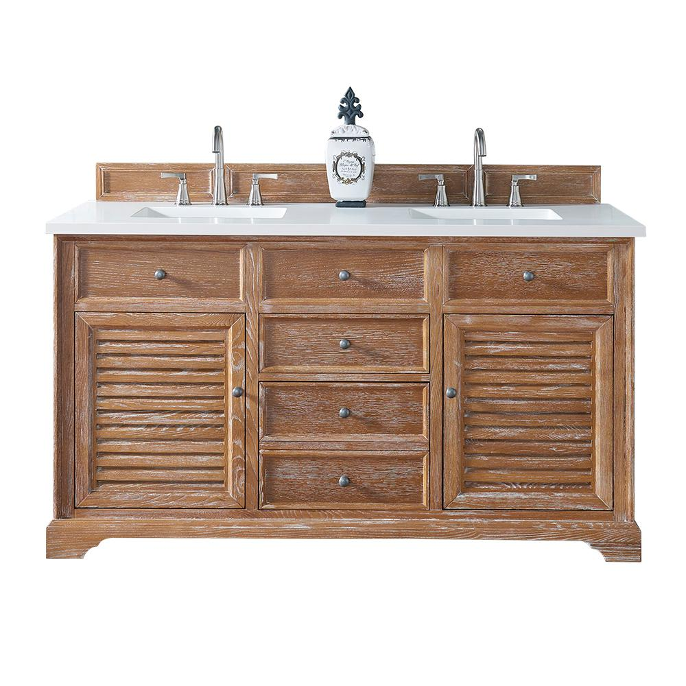 Savannah 60 In. W Double Vanity In Driftwood With Quartz Vanity Top In  White With