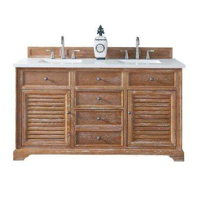 Savannah 60 in. W Double Vanity in Driftwood with Quartz Vanity Top in White with White Basin