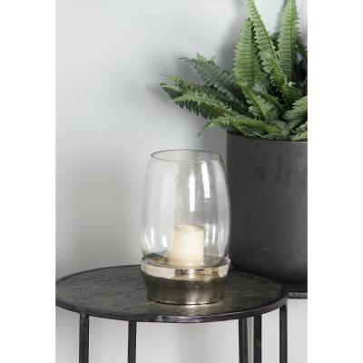Clear Cup-Shaped Glass Candle Holder with Aluminum Base