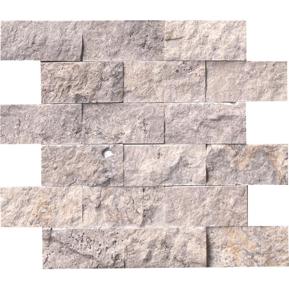 Silver Travertine Backsplash: MSI Silver Travertine Split Face 12 In. X 12 In. X 10mm