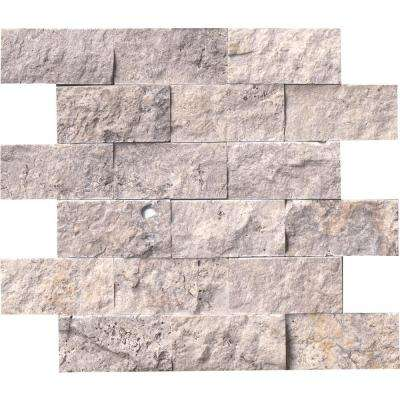 Silver Travertine Split Face 12 in. x 12 in. x 10 mm Travertine Mesh-Mounted Mosaic Tile (5 sq. ft. / case)