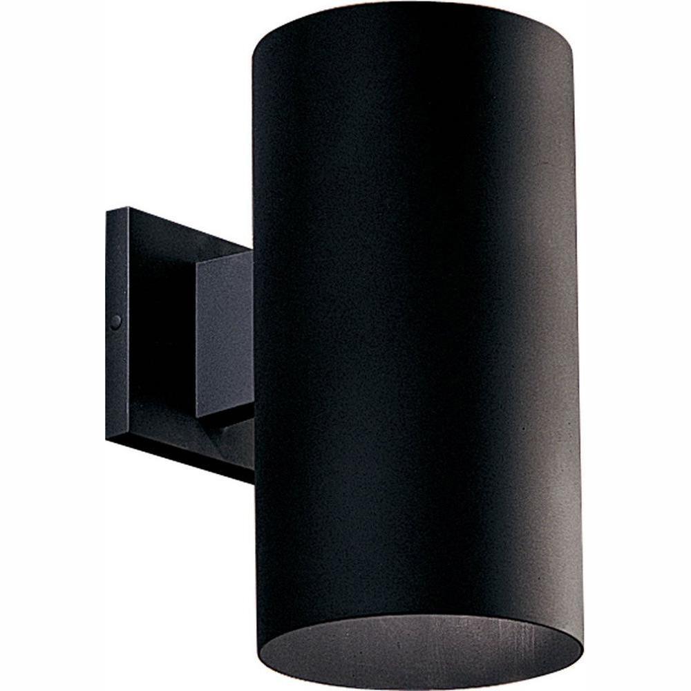 Progress Lighting 1-Light Black Integrated LED 12 in. Outdoor Wall Mount Cylinder Light