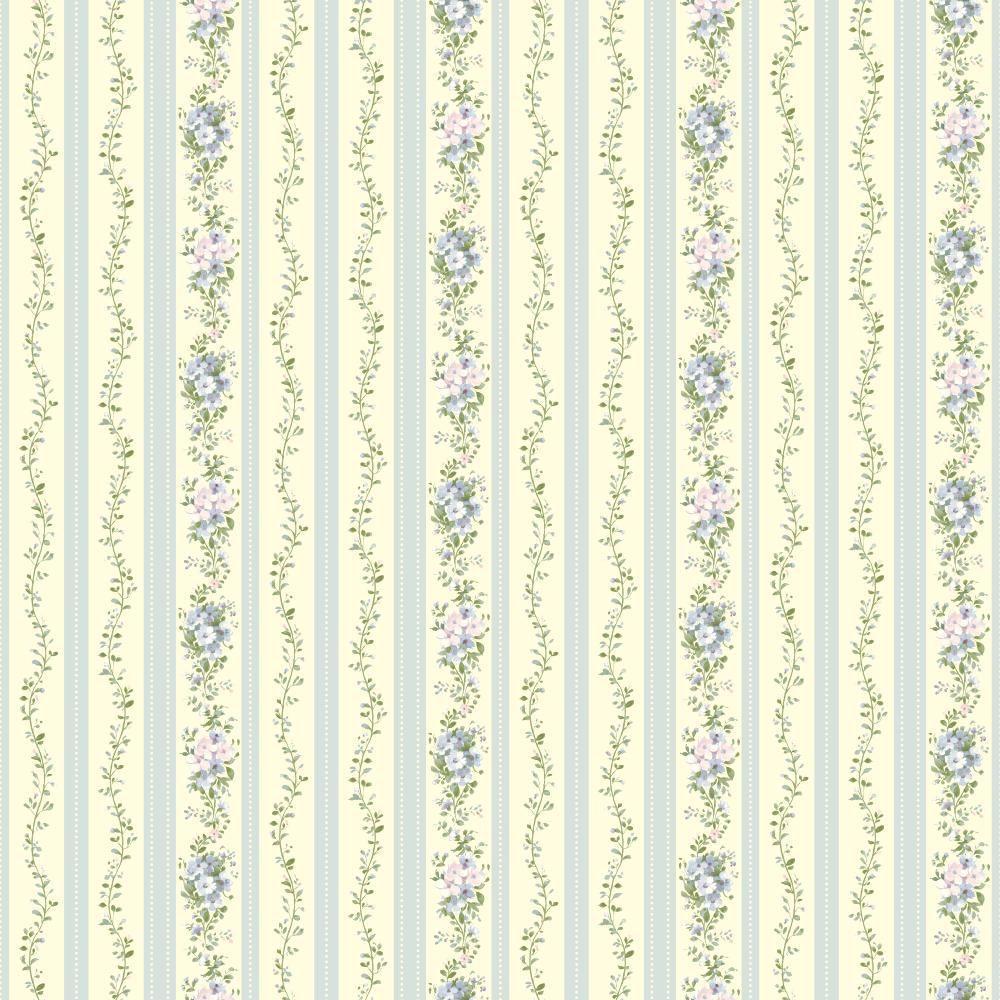 Document Floral Stripe Wallpaper