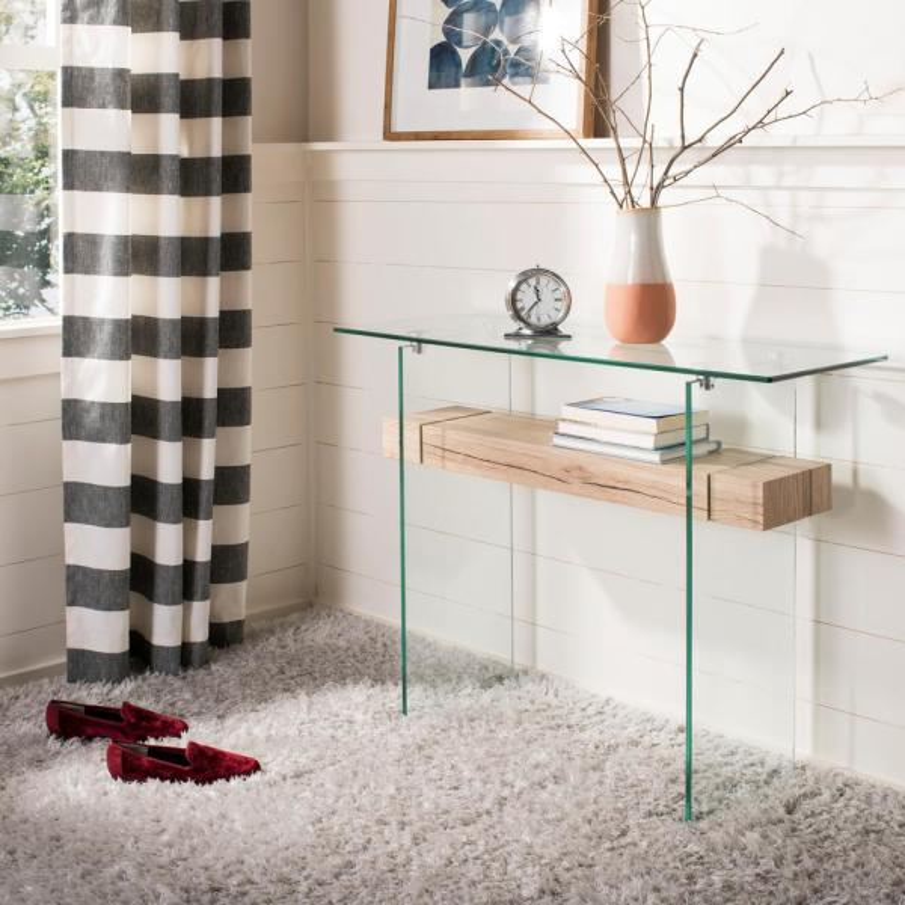 Safavieh Kayley Clear/Natural Console Table CNS7001A - The