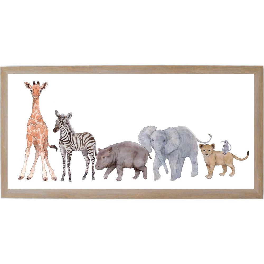 Baby Jungle Animals, Rustic Brown Frame, Magnetic Memo Board
