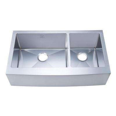 NationalWare Apron/Farmhouse Stainless Steel 36 in. Double Bowl Kitchen Sink in Stainless Steel