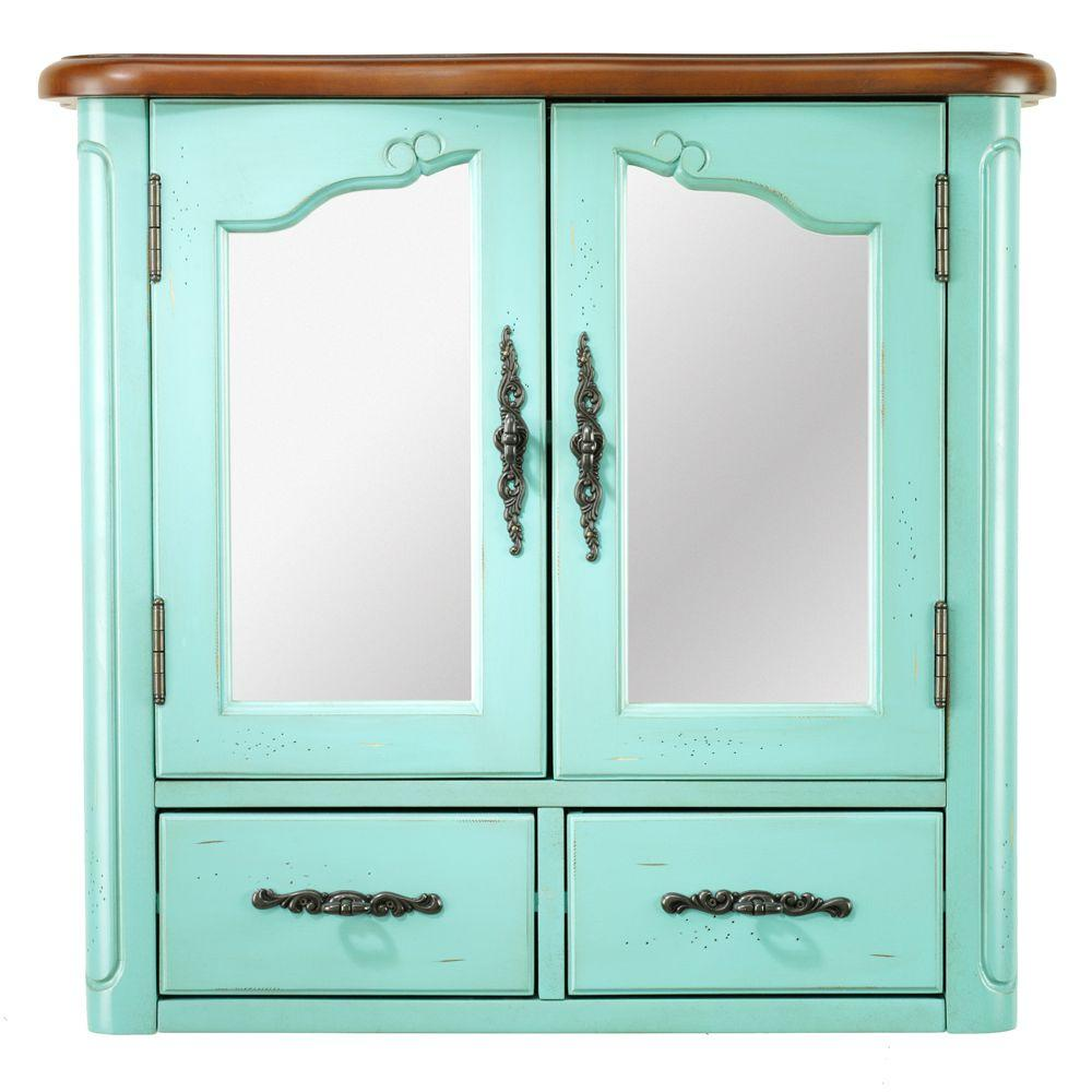 Home Decorators Collection Provence 24 In. W X 23 In. H X 8 In. D Bathroom  Storage Wall Cabinet With Mirror In Blue 1113300310   The Home Depot