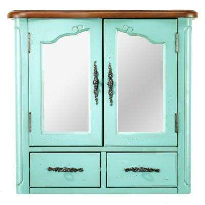 Provence 24 in. W x 23 in. H x 8 in. D Bathroom Storage Wall Cabinet with Mirror in Blue