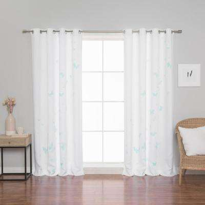 Butterfly Curtains 52 in. W x 84 in. L in Mint (2-Pack)
