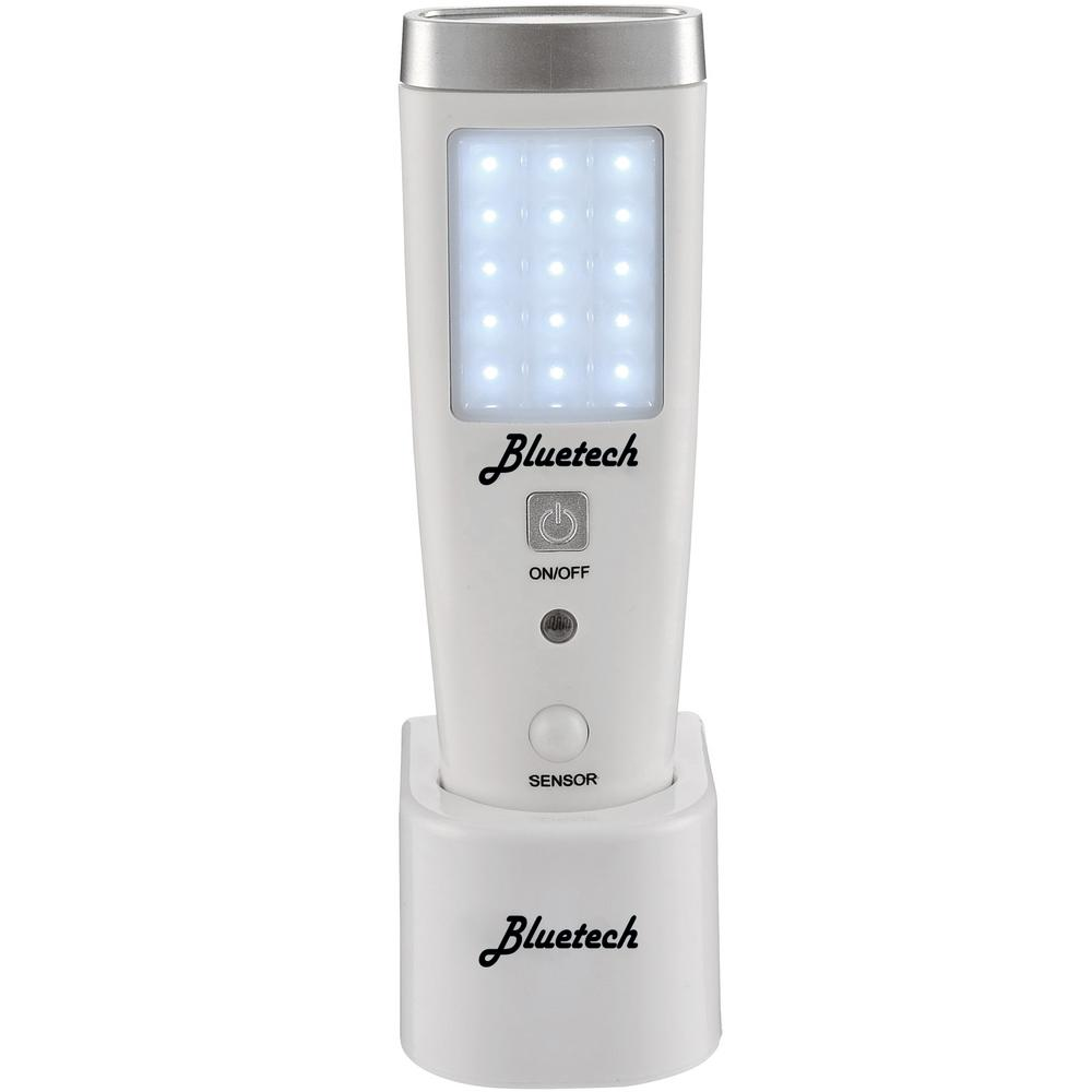 Bluetech Portable with Motion Detection White LED Flashlight Night Light Emergency Preparedness ETL Approved Blackout Light The Avalon Emergency Flashlight with Sensor is a multi-purpose LED light. This can be used as a standard torch flashlight with its 15 bright LED bulbs on the side and 5 LED bulbs on the top. It can be used as a night light with its dark-detection turning on the side LED when in dark. The sensor light option will detect motion in the dark and turn on the side LED. It will also act as an emergency light turning on when power goes out. It is charged with a simple wireless induction charge. Simply plug the charging base into an outlet and place the flashlight into the base to charge.