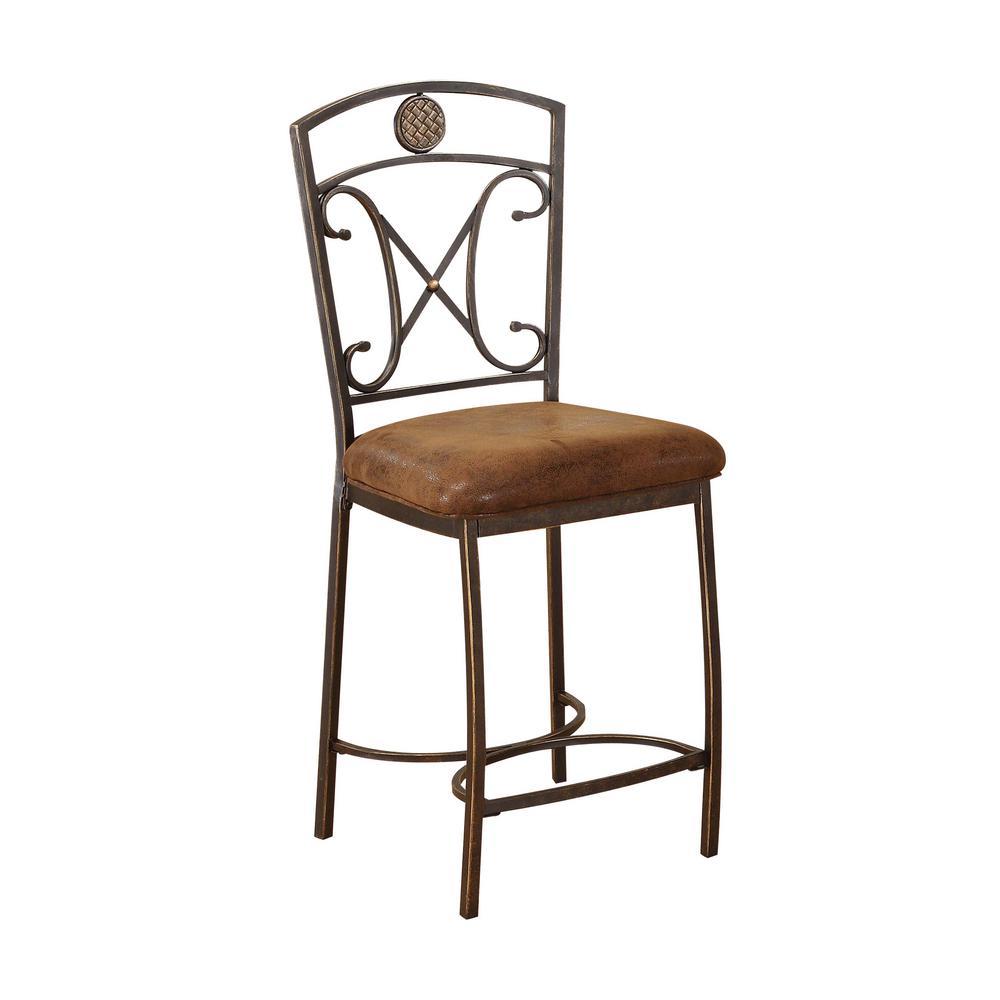 ACME Furniture Tavio 24 in. Antique Bronze Cushioned Bar Stool (Set
