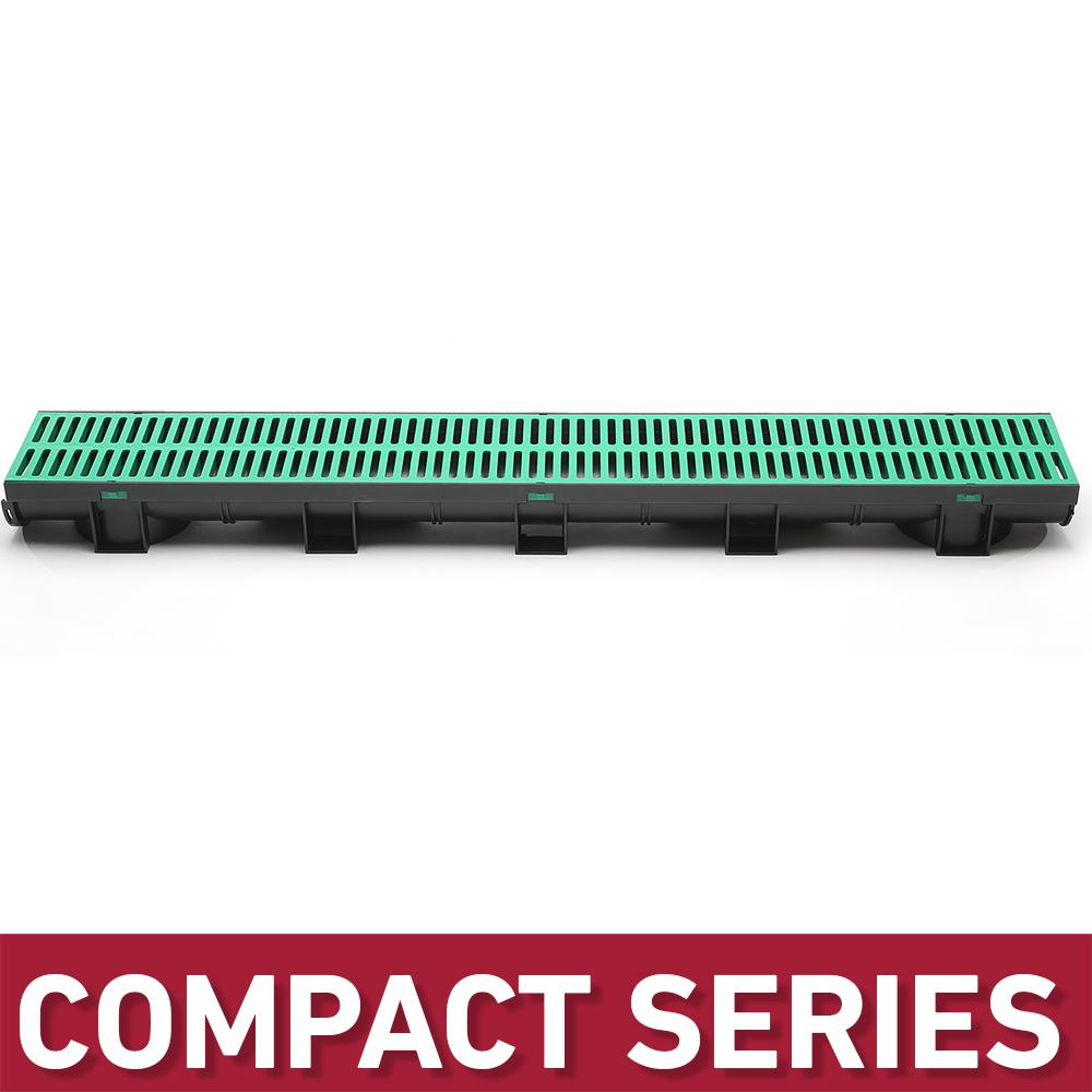 U.S. TRENCH DRAIN Compact Series 5.4 in. W x 3.2 in. D x 39.4 in. L Black Channel and Green Grate with Bottom Outlet, Black/Green was $39.04 now $24.99 (36.0% off)