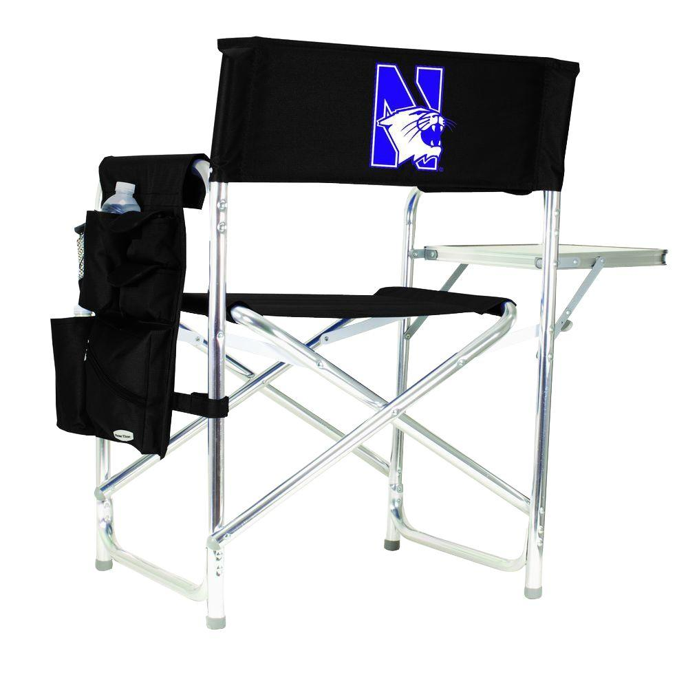Picnic Time Northwestern University Black Sports Chair With Digital Logo