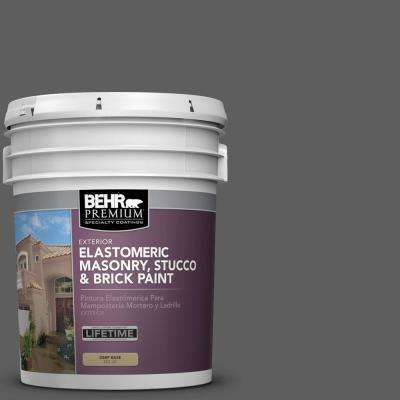 5 gal. #N520-6 Asphalt Gray Elastomeric Masonry, Stucco and Brick Paint