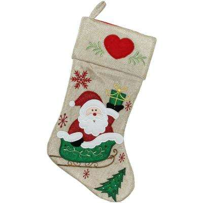 18 in. Burlap Santa Claus in Sleigh Embroidered Christmas Stocking (2-Pack)