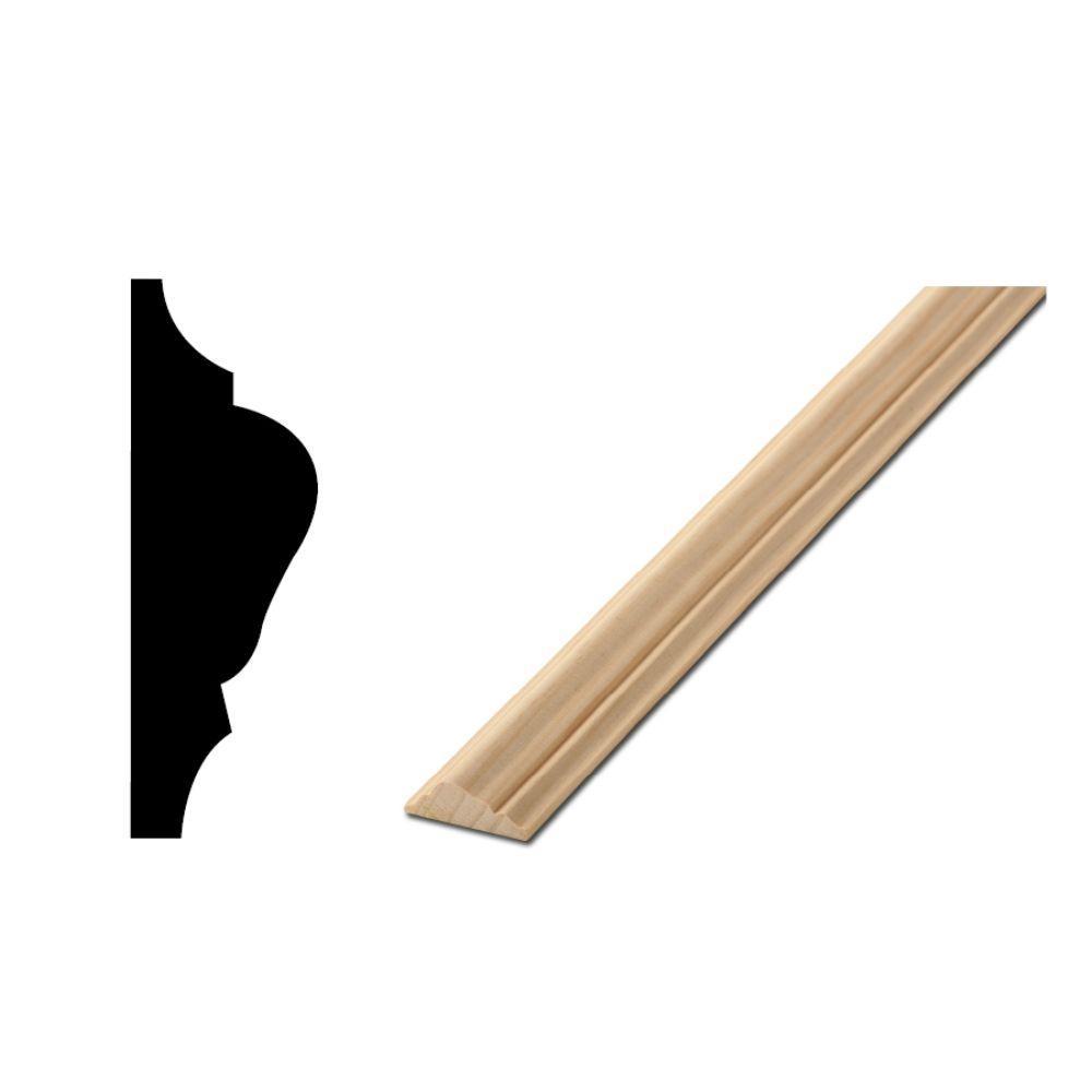 Woodgrain Millwork WM 1217 1/2 in. x 1-1/2 in. x 96 in. Solid Pine Chair Rail Moulding