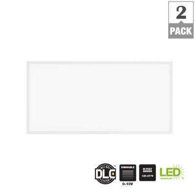 5000 Lumen 2ft x 4ft White LED Flat Panel Troffer (2-Pack)