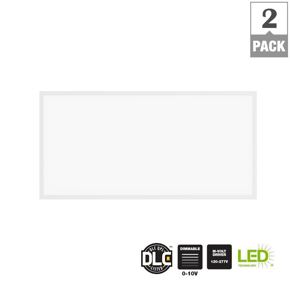 5000 Lumen 2ft x 4ft White LED Flat Panel Troffer (2-Pack)