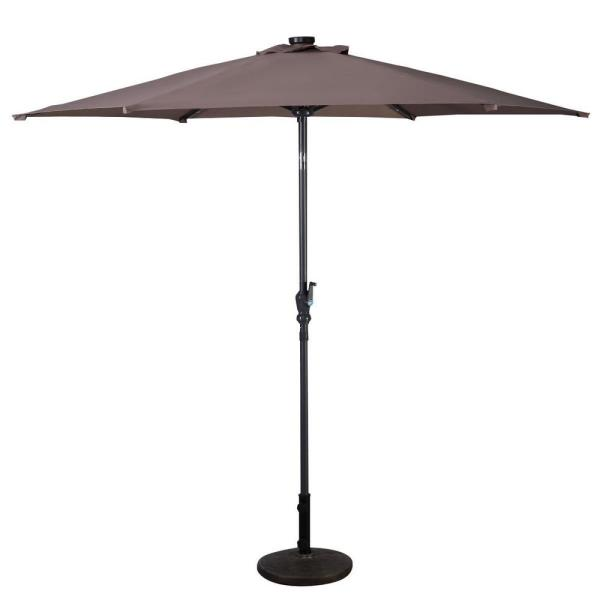 9 ft. Steel Cantilever LED Patio Umbrella with Crank in Tan