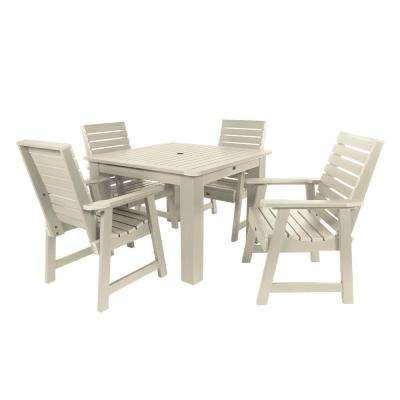 Weatherly Whitewash 5-Piece Recycled Plastic Square Outdoor Dining Set