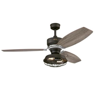 Thurlow LED 54 in. LED Weathered Bronze Ceiling Fan with Light Fixture and Remote Control