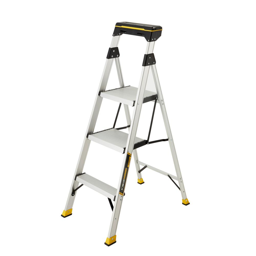 Gorilla Ladders 3 Step Aluminum Step Stool Ladder With 225