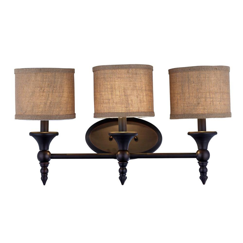 Vanity Light No Shades : World Imports Jaxson Collection 3-Light Oil Rubbed Bronze Vanity Light with Burlap Fabric Shades ...