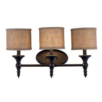 Jaxson Collection 3-Light Oil Rubbed Bronze Vanity Light with Burlap Fabric Shades
