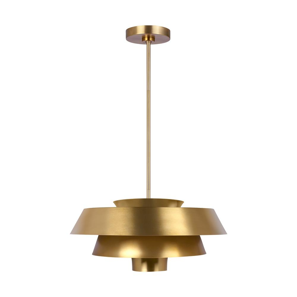 Ed ellen degeneres crafted by generation lighting brisbin 18 in w 1 light burnished brass 3 tiered shades metal pendant