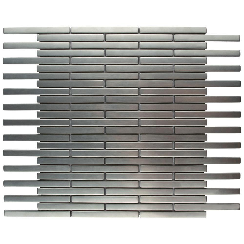 Meta Brick 11-3/4 in. x 12 in. x 5 mm Stainless Steel Metal Over Ceramic Mosaic Tile