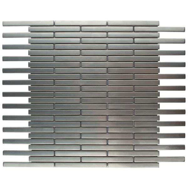 Merola Tile Meta Brick 11 3 4 In X 12 In X 5 Mm Stainless Steel Metal Over Ceramic Mosaic Tile Mdrmsbrk The Home Depot