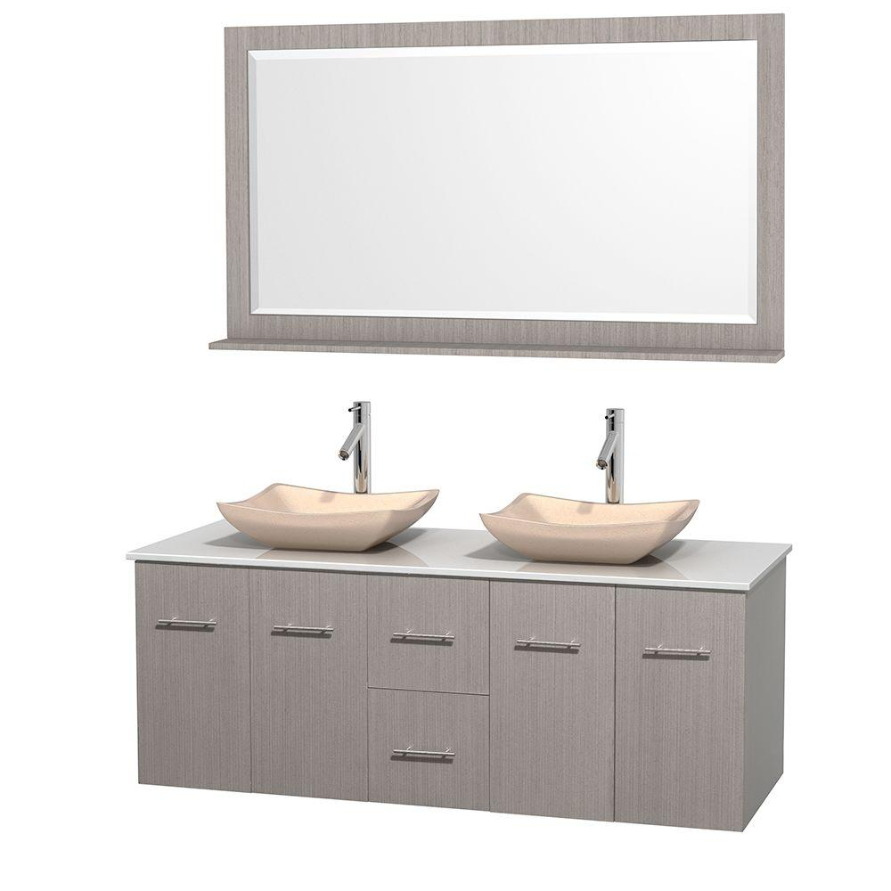 Wyndham Collection Centra 60 in. Double Vanity in Gray Oak with Solid-Surface Vanity Top in White, Ivory Marble Sinks and 58 in. Mirror