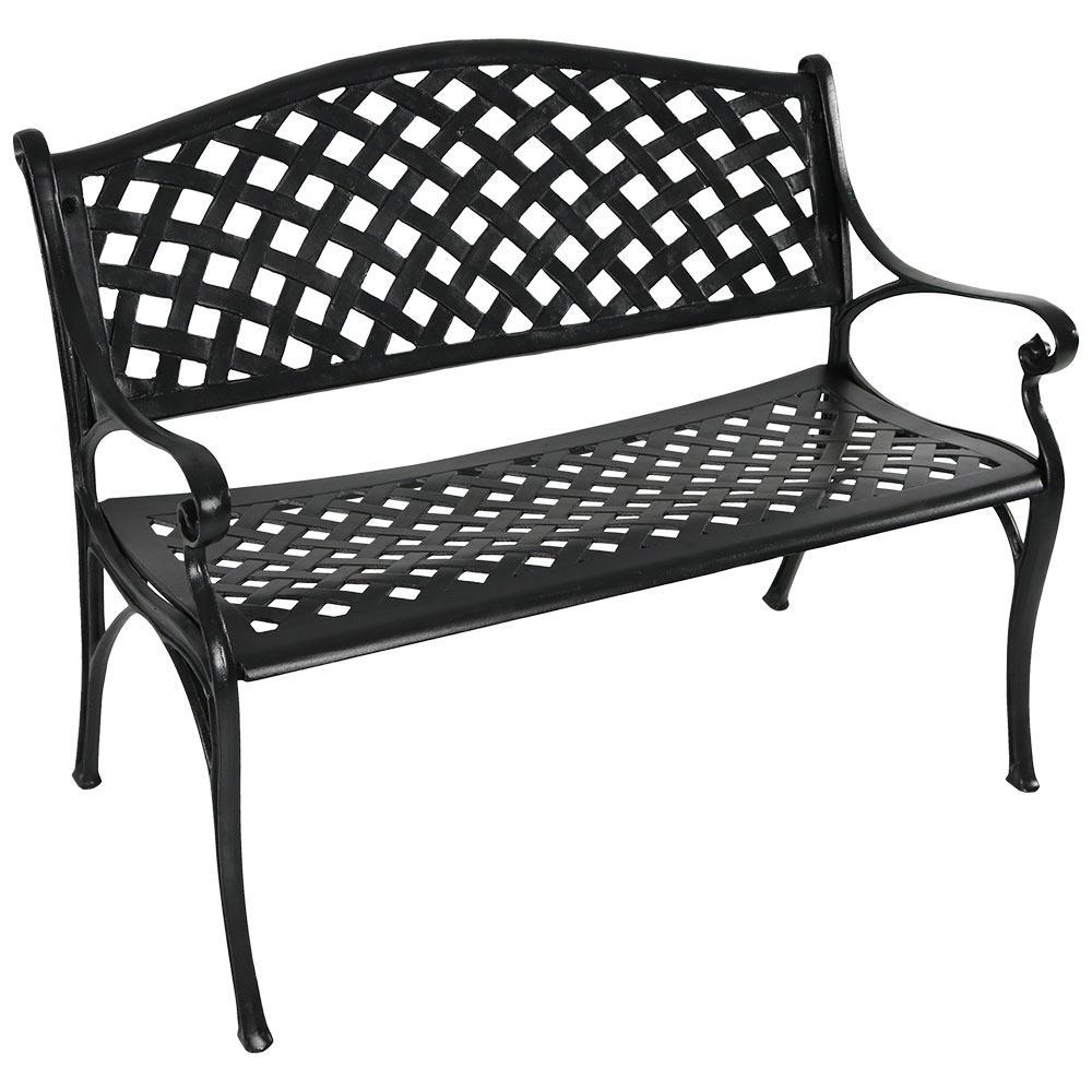 Awesome Sunnydaze Decor Checkered 2 Person Black Cast Aluminum Outdoor Bench