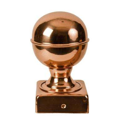 6 in. x 6 in. Copper Ball Top Slip Over Fence Post Cap