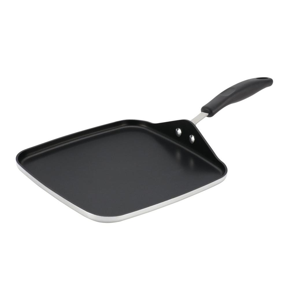 Farberware Commercial Cookware 11 in. Square Griddle in Silver with Black Handle