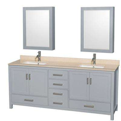 Sheffield 80 in. W x 22 in. D Vanity in Gray with Marble Vanity Top in Ivory with White Basins and Cabinet Mirrors