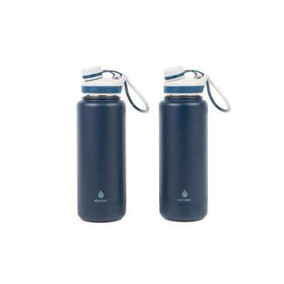Ranger Pro 40 oz. Navy Stainless Steel Vacuum Bottle (2-Pack)