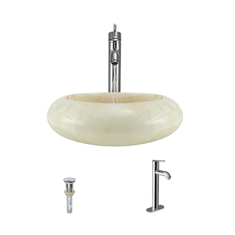 Stone Vessel Sink in White Onyx with 718 Faucet and Pop-Up